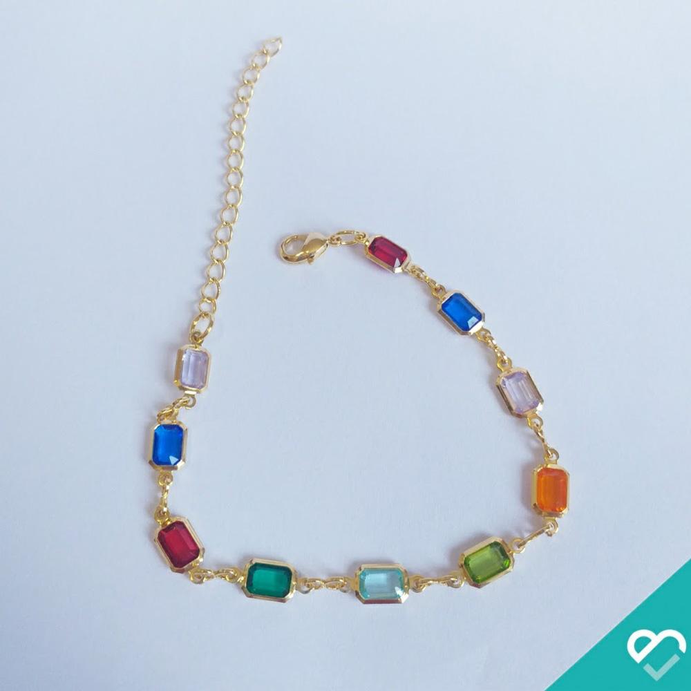 Pulseira pedras coloridas - Victa Acessórios - Presentes para o Dia das Mães - Shopping Galeria
